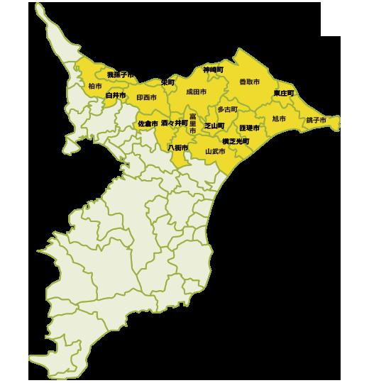 千葉県対応地域の地図