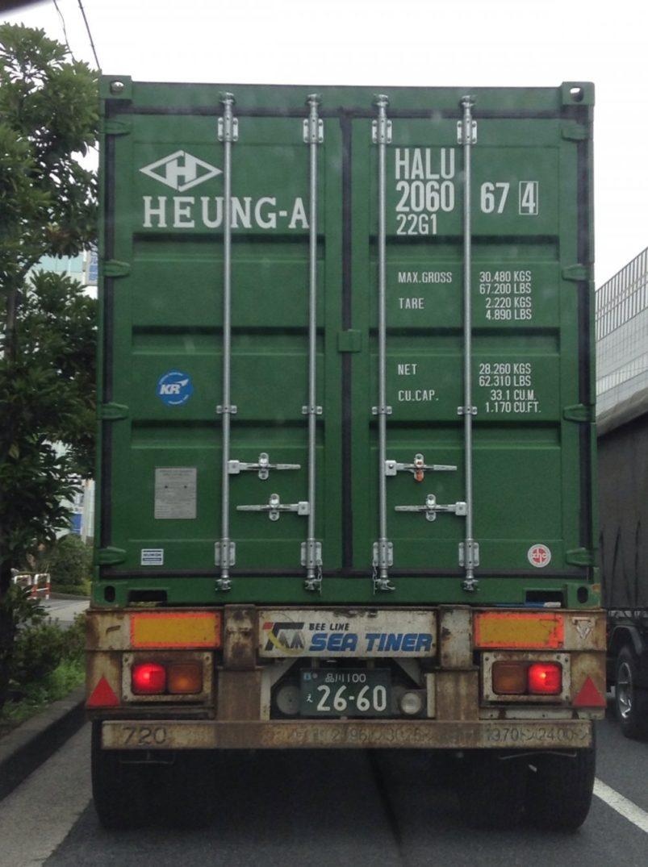 トラックのコンテナのドア