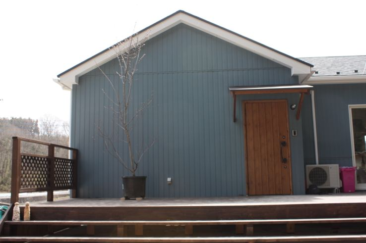 スウェーデンの雰囲気が漂う青い外壁がお洒落な平屋
