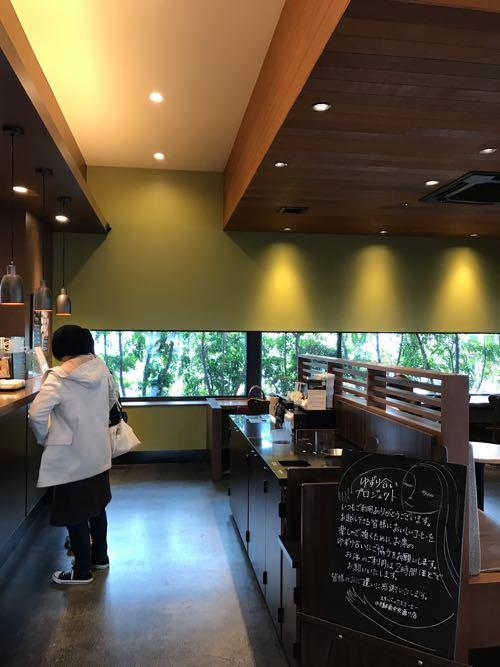 木の天井と緑色の壁が素敵なスタバの店内