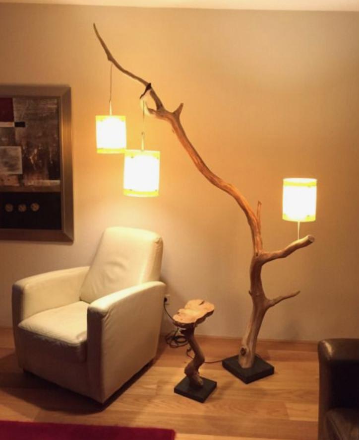流木の照明